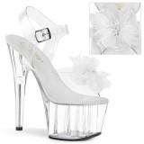 White 18 cm ADORE-708BFL platform pleaser sandals