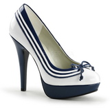 White Blue 13 cm LOLITA-13 High Heeled Evening Pumps Shoes
