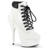 White Faux Suede 15 cm DELIGHT-600TL-02 pleaser ankle boots platform
