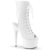 White Matte 18 cm ADORE-1016 Open Toe Platform Ankle Calf Boots