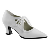 White Matte 7 cm retro vintage VICTORIAN-03 Pumps with low heels