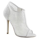 White Mesh 13 cm AMUSE-56 High Heeled Evening Pumps Shoes
