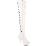 White Patent 15,5 cm DELIGHT-3063 Platform Thigh High Boots