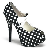 White Points 14,5 cm TEEZE-25 Black Platform Pumps Shoes