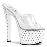 White Rhinestone Platform 18 cm STARDUST-701 Women Mules Shoes