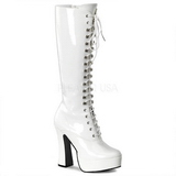 White Shiny 13 cm ELECTRA-2020 High Heeled Womens Boots for Men