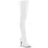 White Shiny 13 cm SEDUCE-3010 Thigh High Boots for Men