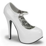 White Shiny 14,5 cm BORDELLO TEEZE-07 Platform Pumps