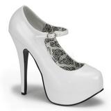 White Shiny 14,5 cm Burlesque BORDELLO TEEZE-07 Platform Pumps