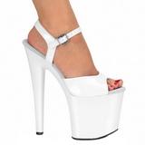 White Shiny 19 cm Pleaser TABOO-709 High Heels Platform