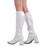 White Shiny 7,5 cm GOGO-300 High Heeled Womens Boots for Men