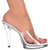 White Transparent 12 cm FLAIR-401 Women Mules Shoes
