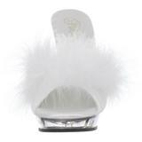 White Transparent 13 cm LIP-101-8 Plateau Women Mules Shoes