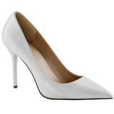White Varnished 10 cm CLASSIQUE-20 pointed toe stiletto pumps