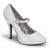 White Varnished 12 cm TEMPT-35 Women Pumps Shoes Flat Heels