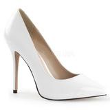 White Varnished 13 cm AMUSE-20 pointed toe stiletto pumps