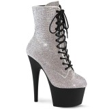 White rhinestones ankle boots platform 18 cm ADORE-1020RS pleaser high heels ankle boots