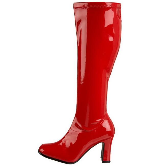 KIKI-350 Stivali con tacco e tronchetti pleaser rosso taglie 39 - 40